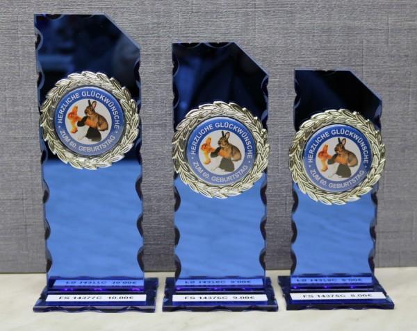 3-er Serie Spiegelglasständer - blau FS 14375-FS 14377