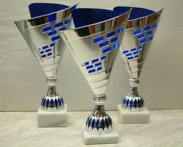 Moderner Pokal aus Kunststoff - Silber-Blau RE A316.1-RE A316.3