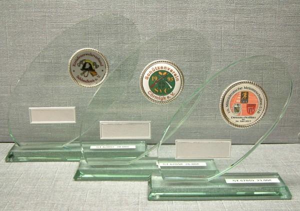 3-er Serie Jade Glastrophäe ovale Form - Stärke 12 mm im Geschenkkarton ST 67057-ST 67059