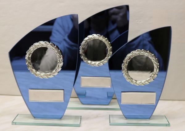 3-er Serie blaue Spiegelglasständer FS 122-51-122-53