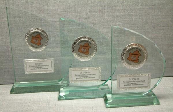3-er Serie Jade Glastrophäe Segelform - Stärke 15 mm im Geschenkkarton ST 65098-ST 65102