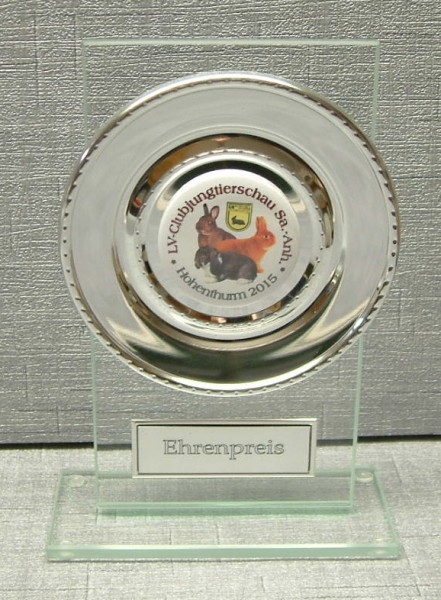 Glasständer mit silbernem Teller - Stärke 6 mm ST 35261T