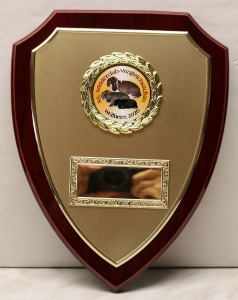 Große Ehrentafel Mahagonilook mit goldenem Wappentarga